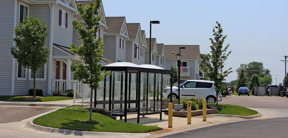 Apartment Buildings & Bus Shelter