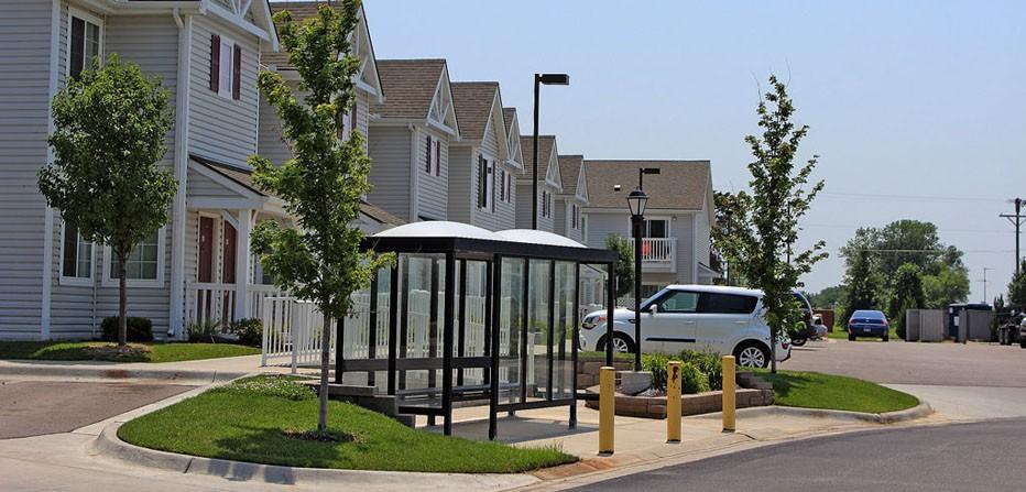 Apartment Buildings & Bus Shelter